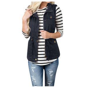 Frauen solide ärmellose Oberbekleidung Plüsch Reißverschluss Tasche Jacke Weste Mantel Größe:L,Farbe:Schwarz