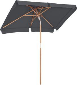 SONGMICS 200 × 125 cm Holz-Sonnenschirm, Marktschirm, UV-Schutz UPF 50+, Gartenschirm, Terrassenschirm, Sonnenschutz, ohne Ständer Grau GPU26GY