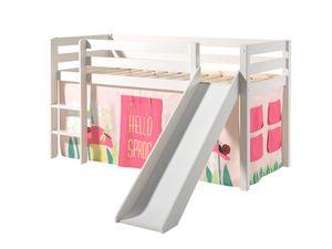"""Vipack Spielbett Pino inkl. Rutsche, Liegefläche 90x200 cm mit Textilset Vorhang """"Spring"""""""