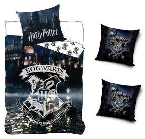 Original Harry Potter Bettwäsche Wendebettwäsche Set, 4-teilig, 135 x 200 cm, 80 x 80 cm, 100% Baumwolle, Linon, Hogwarts Schule, 2 x Kissenbezug 40 x 40 cm