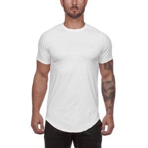 Herren Rundhalsausschnitt Kurzarm Tops Casual T-Shirt Slim Fit Hemd Pullover Schnell Trocknend,Farbe: Weiß,Größe:L