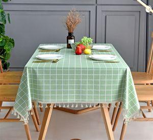 Tischdecke Rechteckig Mit Quaste Rand Antifouling Stoff Tischw?sche Dekorative Staubdichte Tischtuch Abwaschbar fš¹r Esszimmer Urlaub Tischdekoration Grš¹n 90x90cm