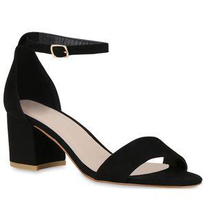 Mytrendshoe Klassische Damen Sandaletten Basic Mid Heel Blockabsatz Schuhe 826401, Farbe: Schwarz, Größe: 39