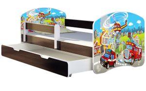 ACMA Jugendbett Kinderbett Junior-Bett Komplett-Set mit Matratze Lattenrost und Rausfallschutz Wenge 36 Feuerwehr 140x70 + Bettkasten