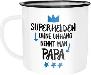 Emaille Tasse Becher Superhelden ohne Umhang nennt man Papa Geschenk Kaffeetasse Moonworks® weiß-schwarz unisize