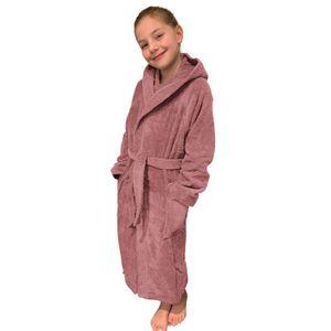 Kinder Frottee Bademantel aus 100% Baumwolle für Mädchen und Jungen Altrosa 164