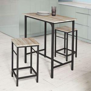 SoBuy® OGT10-N Bartisch Set 3-teilig Bistrotisch mit 2 Stühlen Esstisch Sitzgruppe