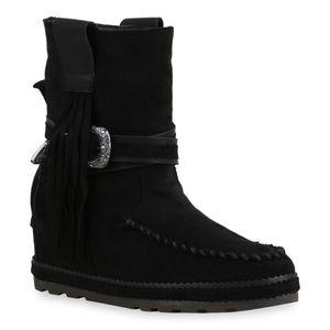 Mytrendshoe Damen Stiefeletten Schlupfstiefeletten Keilabsatz Fransen Schuhe 835547, Farbe: Schwarz, Größe: 39