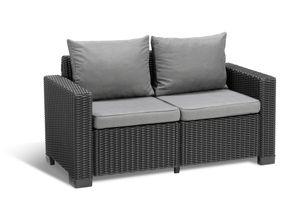 Allibert California Loungesofa 2-Sitzer incl. Kissen, Farbe, Anthrazit
