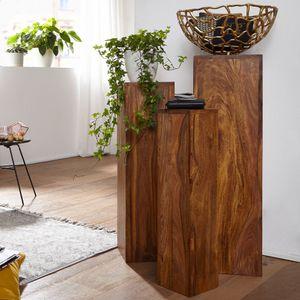 WOHNLING Beistelltisch 3er Set WL1.566 Massivholz 24,5x85x24,5 cm Sheesham Tische | Holztisch Natur-Produkt | Echtholz Beistelltische Dekosäulen | Drei Holztische Braun | Blumenhocker Holz Modern