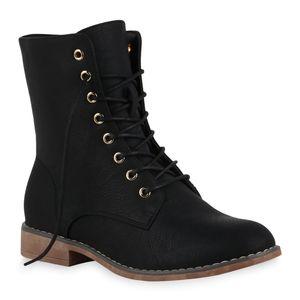 Mytrendshoe Damen Stiefeletten Schnürstiefeletten Gefütterte Stiefel Boots 823626, Farbe: Schwarz, Größe: 39