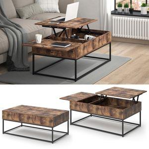 Vicco Couchtisch Lars Vintage Liftfunktion Kaffeetisch Wohnzimmertisch 2 Fächer Tisch