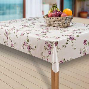 Wachstuch-Tischdecke Wachstischdecke Tischwäsche Abwaschbar Wachstuchdecke, Muster:Blumen Rose Grün. Weiß, Größe:130-160 cm
