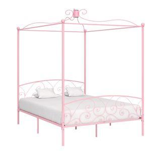 Hochwertigen Himmelbett-Gestell Bettgestell Himmelbett-Bettrahmen für Schlafzimmer Jugendbett Rosa Metall 180 x 200 cm