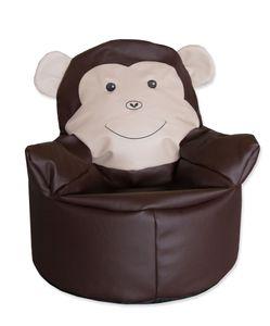 Kindersitzsack Affe, Kunstleder, braun, 55 cm Durchmesser