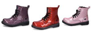 Dockers by Gerli Schnürboots im coolen Glitzerlook Lack Stiefel Boots, Farbe:Violett (Lila), Größe:EUR 38