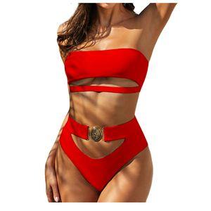 Women Off Shoulder  Sexy Push-Up Padded Bra Bikini Set Swimsuit Swimwer Größe:S,Farbe:Rot