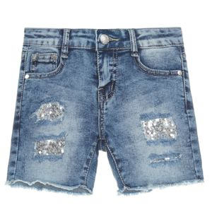 Joy Fashion Jeans Mädchen Jeans Shorts mit Pailletten Blau 104