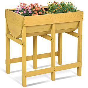 COSTWAY Hochbeet Blumenkasten Pflanzkasten Blumenbeet Blumentrog mit 2 Faechern aus Holz
