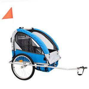 2-in-1 Kinder Fahrradanhänger & Kinderwagen Blau und Grau