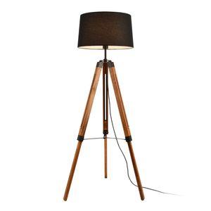 Stehleuchte Stativ Stehlampe Standleuchte Stand Lampe Holz Schwarz [lux.pro]