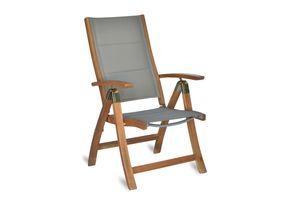 MERXX Gartensessel Hochlehner Acapulco, Gestell Akazienholz geölt, Sitz- und Rückenteil Textilgewebe gepadded grau, klappbar