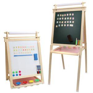 Dripex Kinder Kunst Staffelei mit Papierrolle doppelseitige Tafel und Magnetic Board Kreidetafel für Kinder Malen (Holzfarbe)