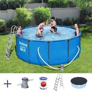 BESTWAY Steel Pro Max Pool Swimmingpool Filterpumpe Leiter Cover Rund 366x122cm