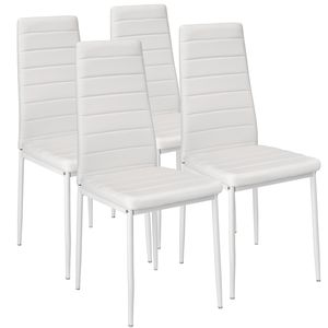tectake 4 Esszimmerstühle, Kunstleder - weiß
