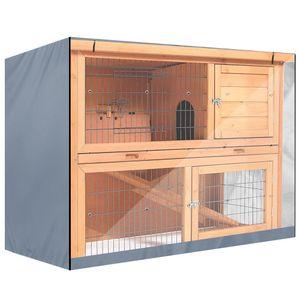 Haustierkäfig Kaninchenstall Schutzhülle 210D Oxford Staubdicht Wasserdicht Kleintierkäfig Kaninchenkäfig Abdeckung Staubabdeckung, Grau