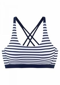 VENICE BEACH Bustier Bikini Oberteil, Größe:36, Farbe:white-navy-s