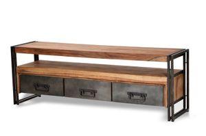 SIT Möbel TV-Lowboard aus Akazie natur | 3 Schubladen und 1 Fach | Gestell Altmetall antikschwarz | B 160 x T 40 x H 55 cm | 09275-01 | Serie PANAMA
