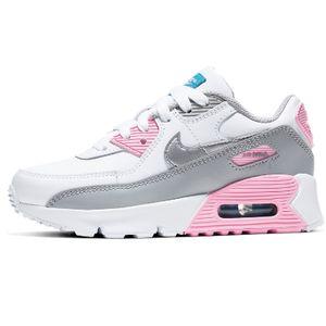 Nike Air Max 90 LTR Leather (PS) Kinder Schuhe Sneaker weiß/grau/rosa CD6867-004, Schuhgröße:35 EU