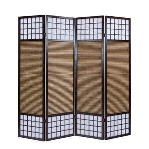 Homestyle4u 876, XL Paravent Raumteiler 4 teilig, Bambus Holz Braun, Höhe 2 m