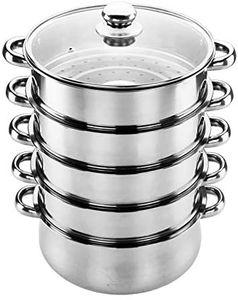 5 Tier Dampftopf Dampfgarer Dampfkocher Dampfkochtopf Schnellkochtopf Kochtopf Küchengerät mit Glasdeckel 26cm