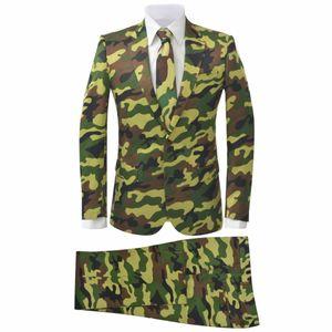 Huicheng 2-tlg. Herren-Anzug mit Krawatte Camouflage-Muster Größe 46