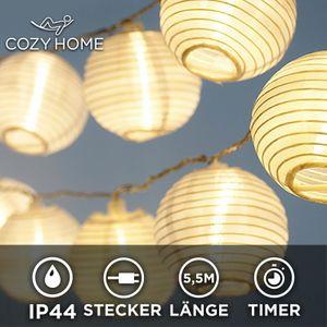 LED Lampion Lichterkette - 5,5 Meter | Mit Netzstecker NICHT batterie-betrieben für außen und innen | 15 LEDs warm-weiß | Kein lästiges austauschen der Batterien |IP 44 (für draußen geeignet)| LED Lampions von CozyHome