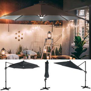 SONGMICS Sonnenschirm mit LED-Beleuchtung, Ø 300 cm, UV-Schutz bis UPF 50+, um 360° drehbar, Neigungswinkel verstellbar, mit Kurbel und Ständer, grau GPU038G01