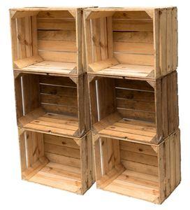 Holzkisten Obstkisten Weinkisten im 6er Set 50 x 40 x 30cm: gereinigt und stabil