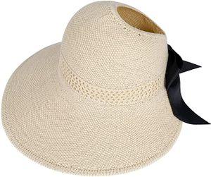 Stroh Sommerhut für Damen mit Groß Sonnen Shade schlaffer Strand Sonnenhut Breite Krempe Faltbar für Reise Urlaub Dekoration, UV-Schutz