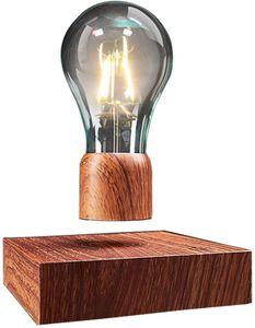 Welikera  schwebende LED-Tischleuchte mit Touch-Taste magnetische in edler Holz-Optik drahtlose LED-Glühbirne Dekoleuchte