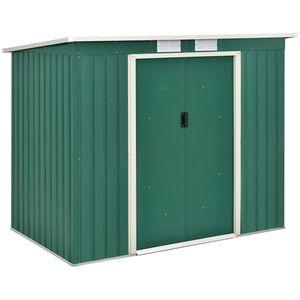 Juskys Metall Gerätehaus M mit Pultdach, Schiebetür & Fundament   4m³   213×130×173 cm   grün   Geräteschuppen Gartenhaus Garten Schuppen