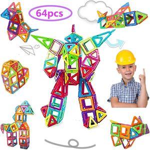 Magnetische Bausteine 64 Teile Bausteine Regenbogenfarben Bausatz Pädagogischen