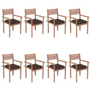 Neu Stapelbare Gartenstühle 8-er Set mit Kissen ,Stapelstühle Terassenstuhl Campingstuhl, Massivholz Teak ,Größe:56 x 51 x 90 cm
