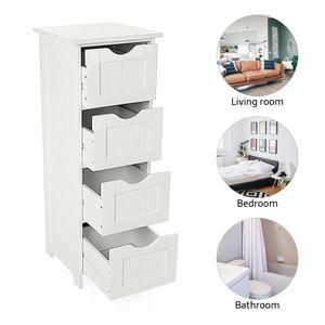 Badezimmerschrank, schmaler Badschrank, Schrank 30*30*82cm 4 Schubladen, weiß