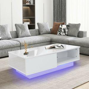 Modern Couchtisch Beistelltisch mit LED Beleuchtung Wohnzimmer Kaffeetisch 2 Schubladen