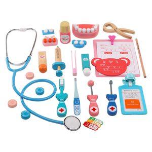 Kinder Arztkoffer 15pcs Doktorkoffer mit Zubehör aus Holz Kleinkind Arzt Doktor Rollenspielzeug