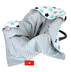BabyLux EINSCHLAGDECKE 90x90 cm Babyschale Minky Decke 8. Grau + Sterne