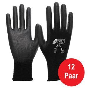12 Paar Arbeitshandschuhe SKIN Polyurethanschwarz Montagehandschuhe Schutzhandschuhe, Größen:11