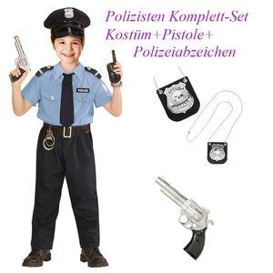 Kinder Komplett Set Polizist Kostüm + Pistole & Polizei Marke # Gr. 116